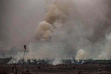 Na imagem, fogo em Poconé (Mato Grosso)