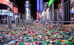 Fallen confetti is seen on an empty street in Times Square during the virtual New Year's Eve event following the outbreak of the coronavirus disease (COVID-19) in the Manhattan borough of New York City, New York, U.S., January 1, 2021. REUTERS/Jeenah Moon