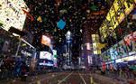 -FOTODELDIA- Nueva York (Estados Unidos) 02/01/2021.- Vista de Times Square vacía durante las celebraciones de Fin de Año en Nueva York, Estados Unidos, este viernes 1 de enero de 2021. Este año, debido al coronavirus, no se ha permitido la entrada de público a Times Square. EFE/ Jason Szenes