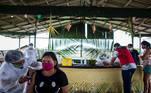 BRA02. AUTAZES (BRASIL), 06/02/21.- Una trabajadora del Distrito Sanitario Especial Indígena (DSEI) de Manaos vacuna a la indígena Rosa Maria de Souza, de 53 años, el 5 de febrero de 2021, en el municipio de Autazes, estado de Amazonas (Brasil). En condiciones extremas, la vacunación contra la covid-19 de las comunidades indígenas de la Amazonía brasileña se ha convertido en una odisea a contrarreloj, ante el repentino aumento de contagios y la irrupción de la nueva variante del virus que ya preocupa a medio mundo. EFE/ Raphael Alves