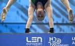Budapest (Hungary), 13/05/2021.- Noemi Batki of Italy competes in women's diving 10m platform preliminary of European Aquatics Championships in Duna Arena in Budapest, Hungary, 13 May 2021. (Hungría, Italia) EFE/EPA/TAMAS KOVACS HUNGARY OUT