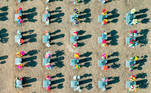Gwangju (Korea, Republic Of), 10/02/2021.- A photo taken with a drone shows people visiting a public cemetery ahead of the three-day Lunar New Year holiday, in Gwangju, South Korea, 10 February 2021. (Corea del Sur) EFE/EPA/YONHAP SOUTH KOREA OUT