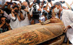 A sarcophagus that is around 2500 years old, is seen inside the newly discovered burial site near Egypt's Saqqara necropolis, in Giza, Egypt, October 3, 2020. REUTERS/Mohamed Abd El Ghany
