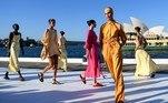 Sydney (Australia), 31/05/2021.- Models present creations during the Bondi Born show at the Australian Fashion Week 2021, Sydney, New South Wales, Australia, 31 May 2021. (Moda) EFE/EPA/BIANCA DE MARCHI AUSTRALIA AND NEW ZEALAND OUT