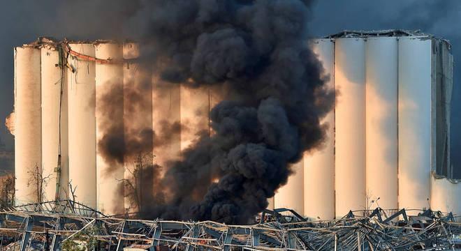 Vista de área atingida pela explosão em Beirute