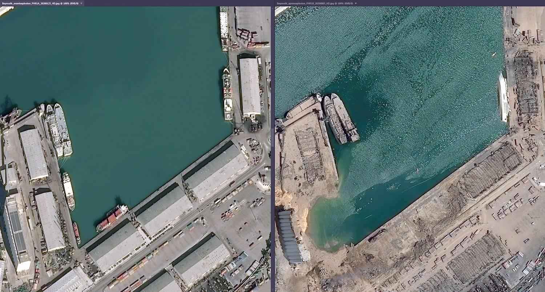 Antes e depois: à direita, o porto intacto; à esquerda, a mesma área destruída