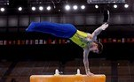 Tokyo (Japan), 24/07/2021.- Diogo Soares of Brazil performs during the men's Pommel Horse Qualification of the Tokyo 2020 Olympic Games at the Ariake Gymnastics Centre in Tokyo, Japan, 24 July 2021. (Brasil, Japón, Tokio) EFE/EPA/TATYANA ZENKOVICH