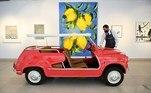 London (United Kingdom), 12/05/2021.- A Christie's auction house staff with Marion Lambert's fiat 600 Ghia Beach 'Jolly' at Christie's in London, Britain, 12 May 2021. The collection of Marion Lambert is being offered for sale to benefit War Child in Paris. The fiat is estimated to fetch 30-40,000 euros. (Reino Unido, Londres) EFE/EPA/ANDY RAIN