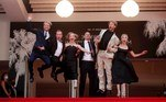 Cannes (France), 12/07/2021.- (L-R) Ilya Stewart, Yuriy Borisov, Yuliya Peresild, Yuri Kolokolnikov, Ivan Dorn, and Chulpan Khamatova arrive for the screening of 'Petrov's Flu' during the 74th annual Cannes Film Festival, in Cannes, France, 12 July 2021. The movie is presented in the Official Competition of the festival which runs from 06 to 17 July. (Cine, Francia) EFE/EPA/IAN LANGSDON