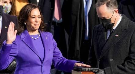 Na imagem, Kamala Harris, vice-presidente dos EUA