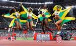 Tokyo (Japan), 06/08/2021.- (from left) Elaine Thompson-Herah, Shelly-Ann Fraser-Pryce, Shericka Jackson and Briana Williams of Jamaica celebrate after winning the Women's 4x100m Relay final of the Athletics events of the Tokyo 2020 Olympic Games at the Olympic Stadium in Tokyo, Japan, 06 August 2021. (100 metros, Relevos 4x100, Japón, Tokio) EFE/EPA/VALDRIN XHEMAJ