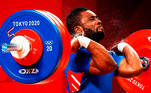 Tokyo (Japan), 25/07/2021.- Bernardin Kingue Matam of France competes in the Men's 67 kg Clean & Jerk Weightlifting event of the Tokyo 2020 Olympic Games at the Tokyo International Forum in Tokyo, Japan, 25 July 2021. RITCHIE B. TONGO