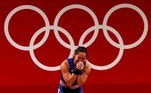 Tokyo (Japan), 26/07/2021.- Hidilyn Diaz of the Philippines reacts in the Women's 55kg Snatch during the Weightlifting events of the Tokyo 2020 Olympic Games at the Tokyo International Forum in Tokyo, Japan, 26 July 2021. (Japón, Filipinas, Tokio) EFE/EPA/JEON HEON-KYUN