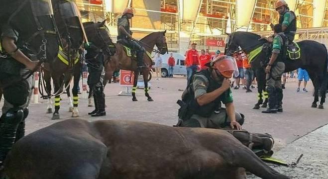 Soldado Alves, parceiro da égua Justiceira, chora ao constatar a sua morte