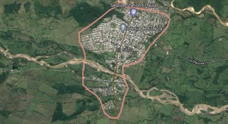 Vista aérea do povoado rural de El Nula