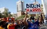 People react as media announce that Democratic U.S. presidential nominee Joe Biden has won the 2020 U.S. presidential election, in Los Angeles, California, U.S., November 7, 2020. REUTERS/Patrick T. Fallon