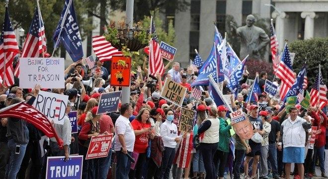Manifestantes participaram de protestos na Georgia, nos Estados Unidos
