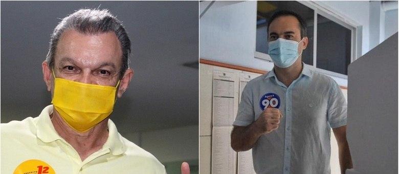 Candidatos José Sarto e Capitão Wagner durante votação neste domingo