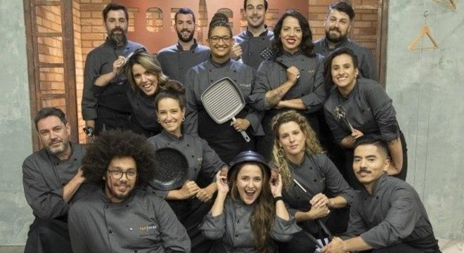 Elenco com 14 chefs que vão disputar o prêmio de R$ 300 mil