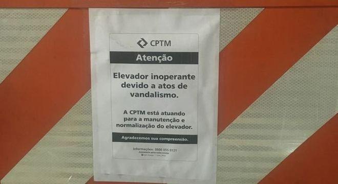 Aviso da CPTM para problemas no elevador