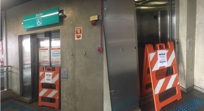 Elevadores da estação Grajaú (Linha 9-Esmeralda da CPTM) em manutenção