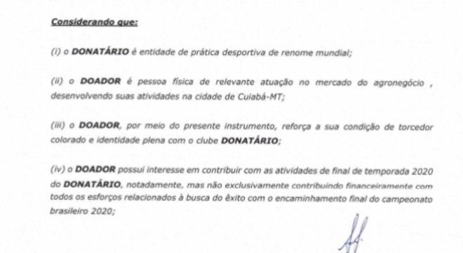 Elusmar Maggi - Internacional (contrato de doação)