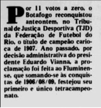 Em 1991, o Botafogo foi ao TJD-RJ e conseguiu, por unanimidade, anular a decisão que era favorável ao Fluminense. Segundo o