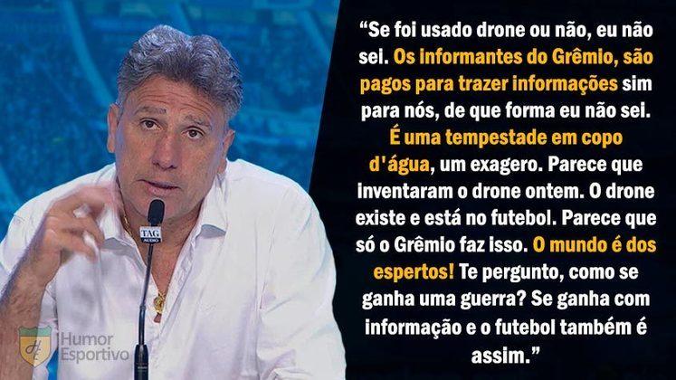 Em 2017, o Grêmio foi acusado de usar métodos de espionagem contra os seus adversários na Libertadores, Copa do Brasil e Brasileirão. Renato afirmou que
