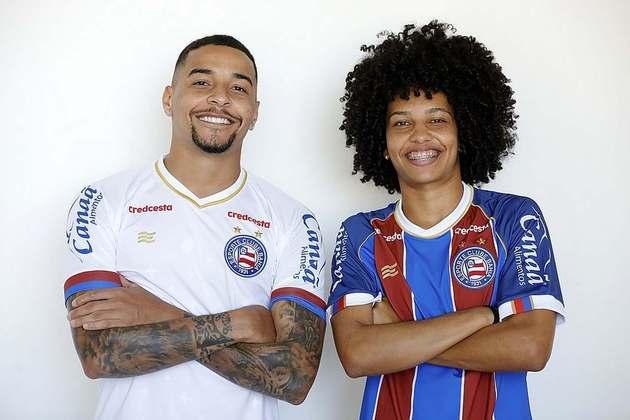 Em 69º lugar, aparece a camisa do Bahia, que custa 45,50 dólares, o que equivale a 219 reais. A fornecedora é a Esquadrão, marca própria da equipe.