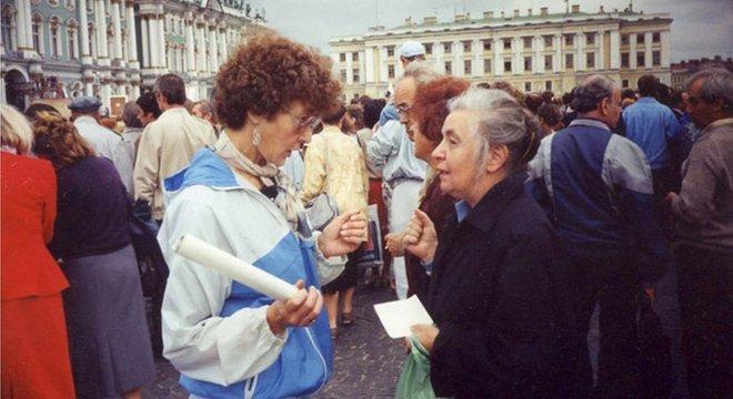 Em agosto de 1991, durante um comício da Praça do Palácio, em São Petersburgo