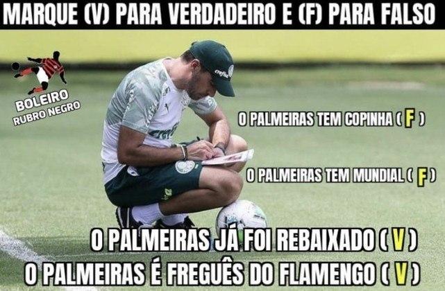 Em duelo envolvendo dois clubes que lutam na parte de cima da tabela, o Flamengo derrotou o Palmeiras por 2 a 0 e voltou forte à disputa pelo título do Brasileirão. Na web, os rubro-negros não perderam a chance de provocar o Verdão e ironizaram as anotações na prancheta de Abel Ferreira. Veja os memes!