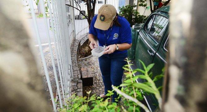 Em garagem de uma casa, agente de saúde segura e olha para pote de água, buscando larvas de mosquito