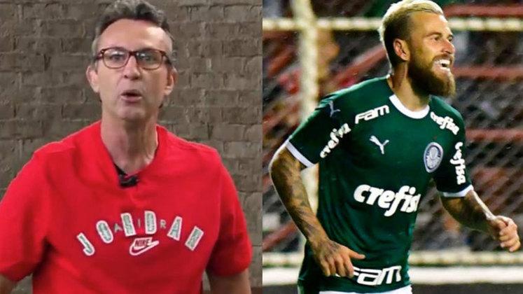"""Em mais um capítulo da treta com Lucas Lima, Neto criticou a falta de produtividade do jogador do Palmeiras: """"Lucas Lima, eu teria vergonha de falar que sou jogador de futebol se eu fosse você. Em 26 jogos fez um gol. Tem dois gols em dois anos. Você está de sacanagem!"""
