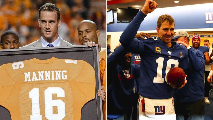 Em seus tempos de atleta, Payton e Eli Manning também mostraram um talento de família no futebol americano.