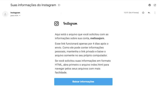 Email oficial de download de dados do Instagram (Imagem: Reprodução/Instagram)