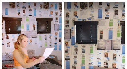 Para se vingar do namorado, Emely criou 'papel de parede' com prints de conversas e fotos das amantes