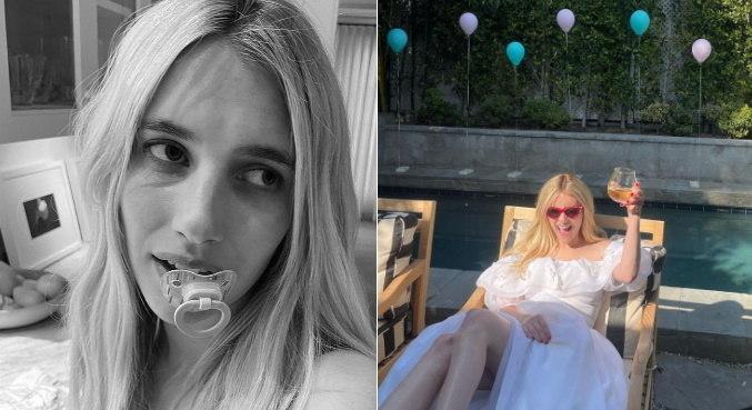 Emma Roberts mostrou dois momentos diferentes de seu aniversário