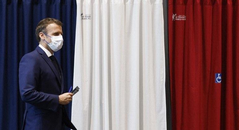 Atual presidente da França, Emmanuel Macron, do partido República em Marcha