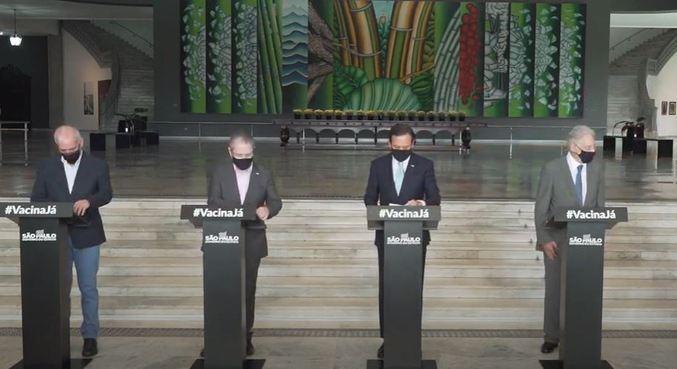 Doria reúne ex-presidentes do país em ato pró-vacina