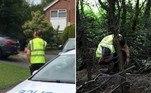 Uma moradora deNuthall, na Inglaterra, flagrou um entregador da Amazon defecando no jardim da casa onde vive