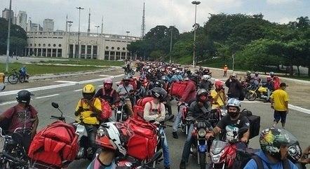 Entregadores fizeram protesto na capital paulista