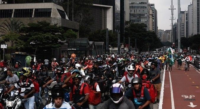 Em 19 de março, entregadores se reuniram em protesto na avenida Paulista