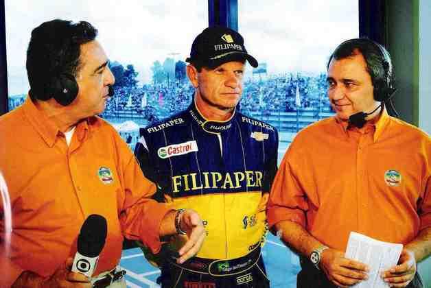 Entretanto, não se limitou apenas a Fórmula 1: também narrou Stock Car. Na foto, com Ingo Hoffmann e Reginaldo Leme (Foto: TV Globo)