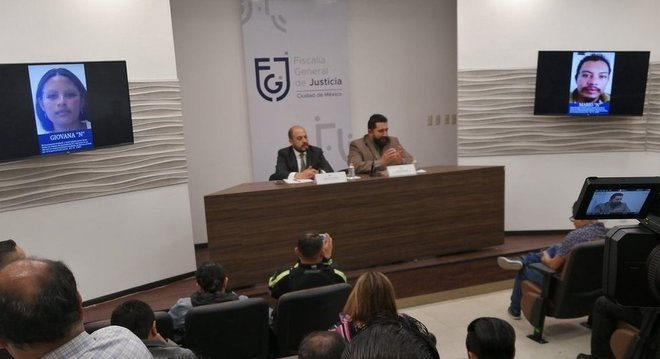 Ministério Público mexicano apresentou retratos falados de Gladis Giovana Cruz Hernández e Mario Alberto Reyes Nájera, suspeitos do crime