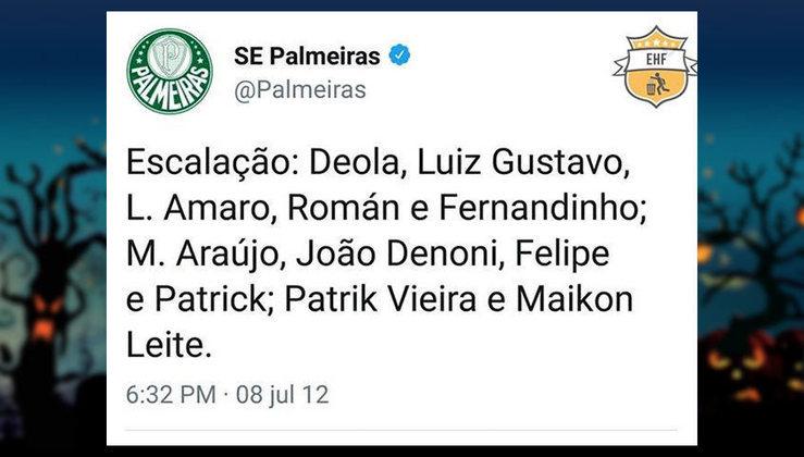 Equipe alternativa do Palmeiras em 2012, ano do rebaixamento para a Série B (mas campeão da Copa do Brasil).