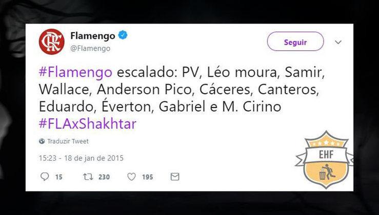 Equipe do Flamengo comandada por Vanderlei Luxemburgo em 2015
