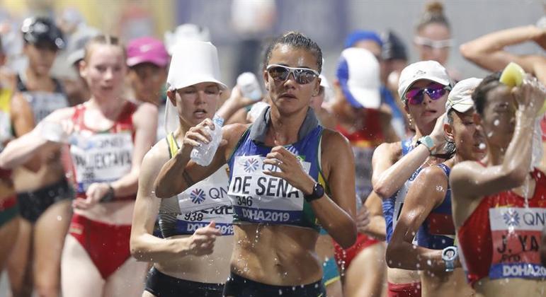 Erica Sena no Mundial de Marcha Atlética de 2019, em Doha