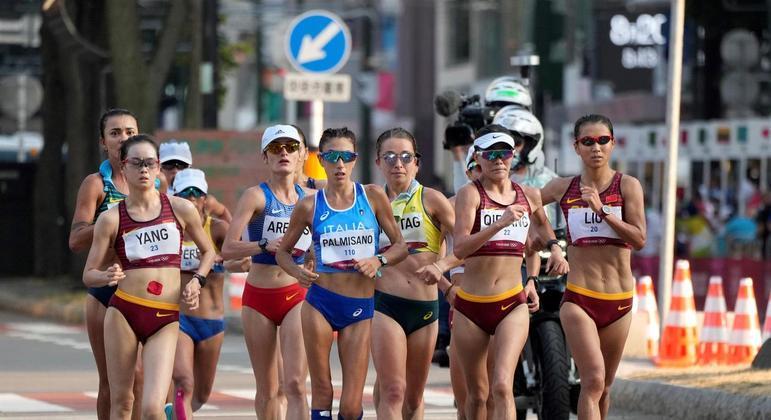 Erica Sena durante a competição de marcha atlética nos Jogos Olímpicos Tóquio 2020