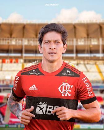 Erro na magia?! Germán Cano, querido pela torcida do Vasco, vestindo a camisa do Flamengo.