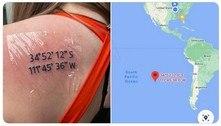 Mulher tenta homenagear cidade, mas tatua coordenadas de oceano